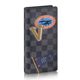 Louis Vuitton Brazza Wallet N64438 Damier Graphite Stickers