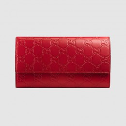 Gucci Continental Flap Wallet In Red Guccissima Leather
