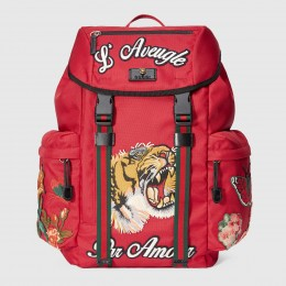 Gucci Red Backpack With Embroidery