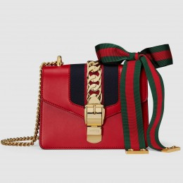 Gucci Red Leather Sylvie Mini Chain Bag