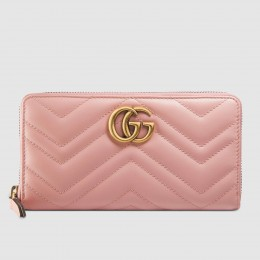 Gucci Light Pink GG Marmont Zip Around Wallet