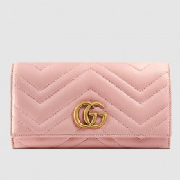 Gucci Light Pink GG Marmont Continental Wallet