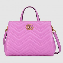 Gucci Pink GG Marmont Small Matelasse Top Handle Bag
