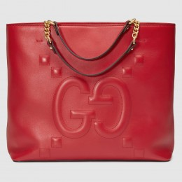 Gucci Red Medium GG Leather Tote