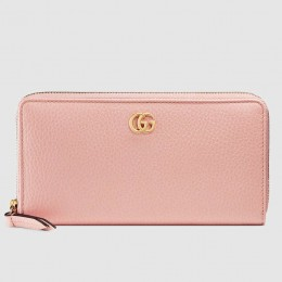 Gucci Light Pink Leather Zip Around Wallet