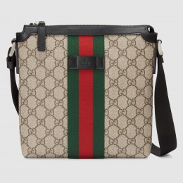 Gucci Web GG Supreme Flat Messenger Bag