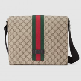 Gucci Beige GG Supreme Web Messenger Bag