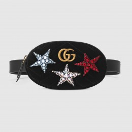 Gucci Black GG Marmont Velvet Crystals Belt Bag