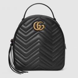 Gucci GG Marmont Black Leather Backpack