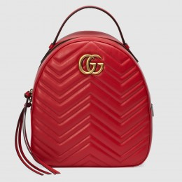 Gucci GG Marmont Red Leather Backpack