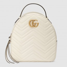 Gucci GG Marmont White Leather Backpack