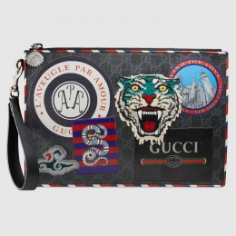 Gucci Night Courrier GG Supreme Portfolio Pouch