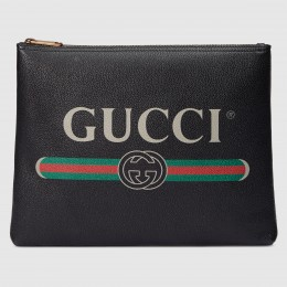 Gucci Black Print Leather Medium Portfolio