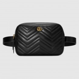 Gucci Black GG Marmont Matelasse Belt Bag