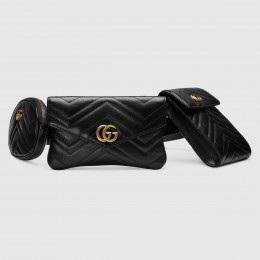 Gucci Black GG Marmont Matelasse Multi Belt Bag