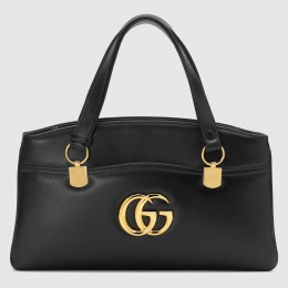 Gucci Black Arli Large Top Handle Leather Bag