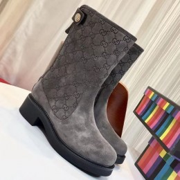 Louis Vuitton Monogram Suede Leather Short Boot Grey 2018 (GD1054-8121524 )