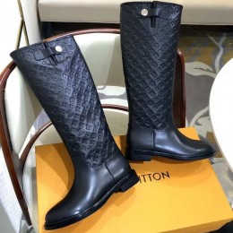 Louis Vuitton Monogram Embossed Clafskin Long Boot Black 2018 (GD1054-8121534 )