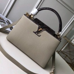 Louis Vuitton Capucines PM with Python Skin Top Handle Bag N95382 Grey 2019 (FANG-9050741 )