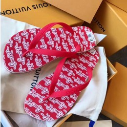 Louis Vuitton Men's Molitor Thong Sandals on Monogram Insock 1A45V3 Red 2019 (EM-9030928 )