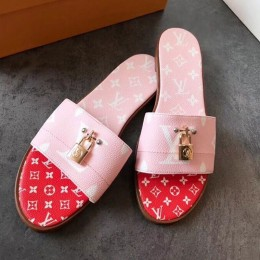 Louis Vuitton Lock It Flat Slide Sandals 1A580R Pink/Red 2019 (EM-9041331 )