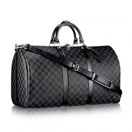 Louis Vuitton N41413 Keepall Bandouliere 55 Duffel Bag Damier Graphite Canvas