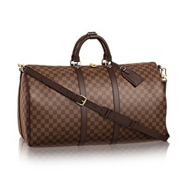 Louis Vuitton N41414 Keepall Bandouliere 55 Duffel Bag Damier Ebene Canvas
