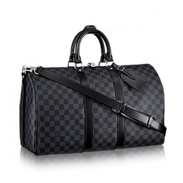 Louis Vuitton N41418 Keepall Bandouliere 45 Duffel Bag Damier Graphite Canvas