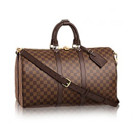 Louis Vuitton M41418 Keepall Bandouliere 45 Duffel Bag Damier Ebene Canvas