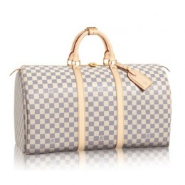 Louis Vuitton N41430 Keepall 50 Duffel Bag Damier Azur Canvas