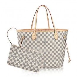 Louis Vuitton N41605 Neverfull MM Shoulder Bag Damier Azur Canvas