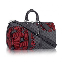 Louis Vuitton N41701 Keepall Bandouliere 45 Duffel Bag Damier Graphite Canvas
