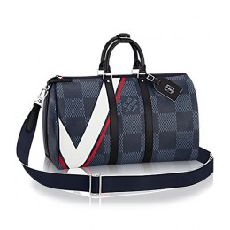 Louis Vuitton N44008 Keepall 45 Bandouliere Duffel Bag Damier Cobalt Canvas