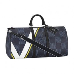 Louis Vuitton N44009 Keepall 55 Bandouliere Duffel Bag Damier Cobalt Canvas