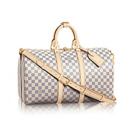 Louis Vuitton N48223 Keepall Bandouliere 45 Duffel Bag Damier Azur Canvas