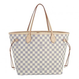 Louis Vuitton N51107 Neverfull MM Shoulder Bag Damier Azur Canvas