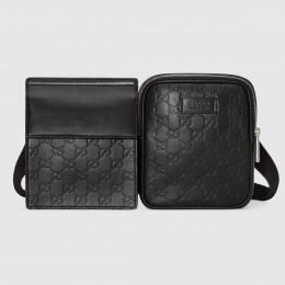 Gucci Black Signature Leather Belt Bag